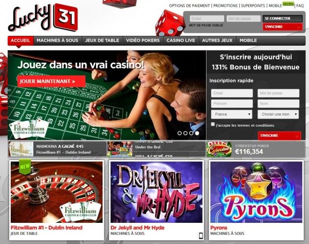 retrait casino lucky31